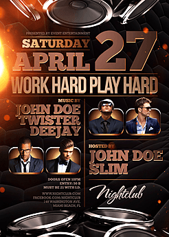 Work Hard Play Hard Party Flyer